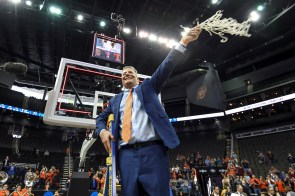 Coach Bruce Pearl celebrates his Auburn Tigers' win over the Kentucky Wildcats to advance to the Final Four for the first time in program history. (Wade Rackley /AU Athletics)