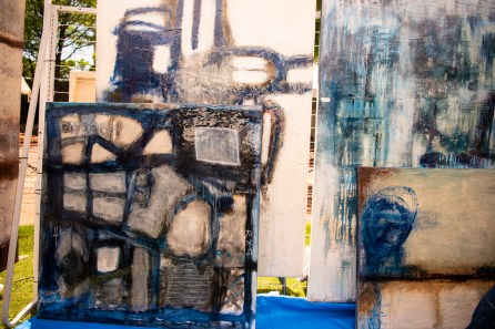 Myrna Gates creates large pieces with color and texture and wants people to touch her work. (Phil Free / Alabama NewsCenter)