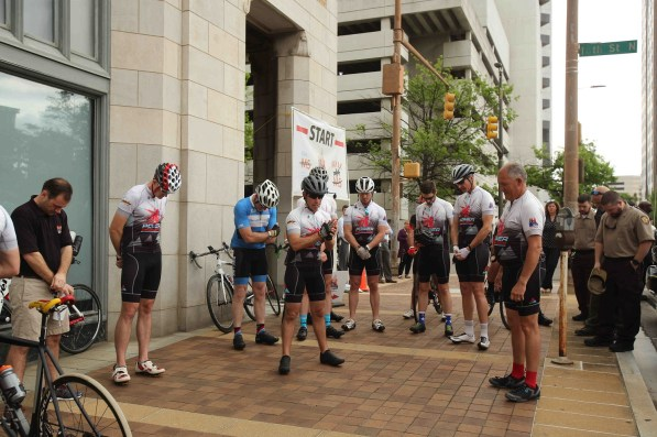 The Power Pedalers prepare to depart from Alabama Power headquarters. (Meg McKinney/Alabama NewsCenter)