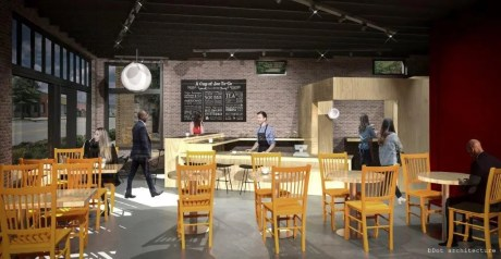 The future Joe's Coffee House is intended to be a catalyst for revitalization of downtown Tarrant. (bDot Architecture)