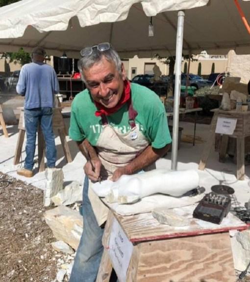 Pietrosanta's Enzo Torcoletti sculpts at the Magic Marble Festival. (Contributed)