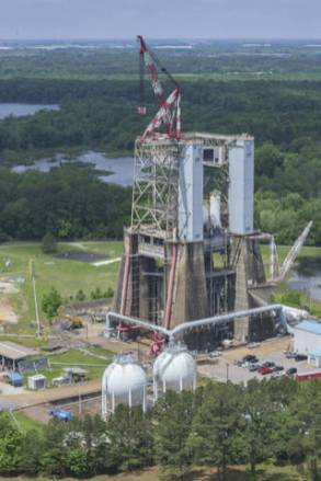 Blue Origin will upgrade and refurbish Test Stand 4670, at NASA's Marshall Space Flight Center in Huntsville, to support testing of its Alabama-built BE-3U and BE-4 rocket engines. (NASA/Marshall)