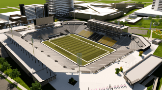 """A rendering of the proposed multipurpose """"Protective Stadium"""" to be built in downtown Birmingham. (contributed)"""