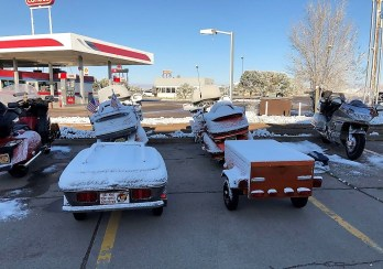 Snow-covered motorcycles in Moriarty, New Mexico. (Danny Baker)