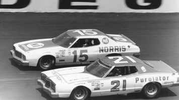 David Pearson (No. 21) and Buddy Baker (No. 15) were among Talladega Superspeedway's biggest winners in the 1970s. (contributed)