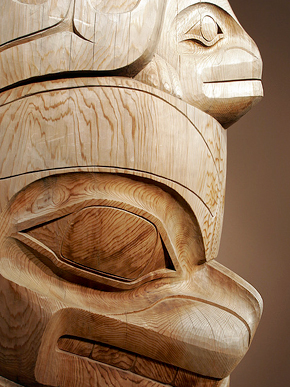 Close-up of a section of totem pole by a Northwest Coast artist exhibited in Native American collection at the Birmingham Museum of Art in Birmingham. (From Encyclopedia of Alabama, photo courtesy of Alabama Tourism Department)
