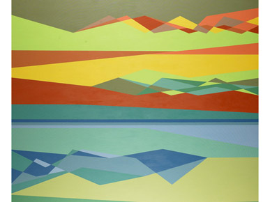 Gravity's Rainbow, 2001, by Odili Donald Odita. Museum purchase in memory of Iain MacPherson Alexander by docents, friend of the Collectors Circle for Contemporary Art, and Margaret, Brenden and Bruce Alexander, 2002. (From Encyclopedia of Alabama, photo courtesy of the Birmingham Museum of Art)