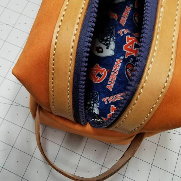 An Auburn travel bag is one of Kathy Johnson's unique designs. (Brittany Faush)