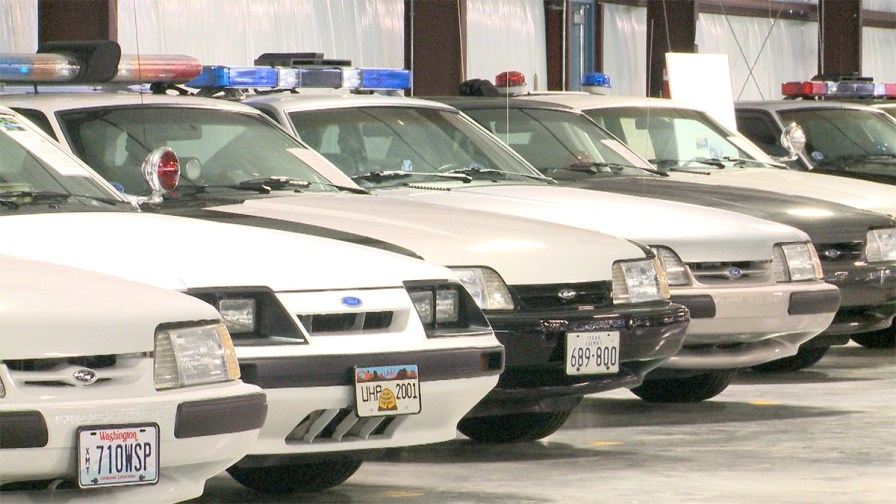Ford Mustangs used as law enforcement vehicles across more than two dozen states are preserved at the Mustang Museum of America. (Dennis Washington / Alabama NewsCenter)