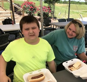 Children were treated to a delicious hot-dog lunch. (Donna Cope/Alabama NewsCenter)