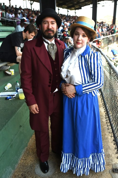 Jason Bressner and Alona Brosh came down from Boston to get into the spirit of the Rickwood Classic. (Solomon Crenshaw Jr./Alabama NewsCenter)