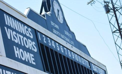 The manual scoreboard at Rickwood Field is a replica of a 1948 scoreboard. (Solomon Crenshaw Jr./Alabama NewsCenter)