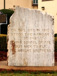 The Wright brothers' civilian flying school operated from March to May 1910 near Montgomery. The site became a flight repair depot for the Army Air Corps during World War I, and now is the home of Maxwell Air Force Base. (From Encyclopedia of Alabama, photograph by Justin Dubois)