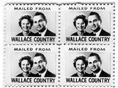 These stamps were handed out during Lurleen Wallace's 1966 gubernatorial campaign. George Wallace's presence on them signaled to voters the true meaning of her run for governor as a way for him to serve a second, but unconstitutional, consecutive term. (From Encyclopedia of Alabama, courtesy of Alabama Department of Archives and History)