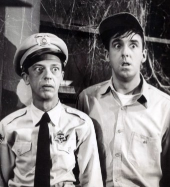 "Publicity photo from the television program ""The Andy Griffith Show."" Pictured are Don Knotts (Barney Fife) and Jim Nabors (Gomer Pyle), July 2, 1964. (CBS Television, Wikipedia)"