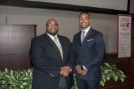 AABE members Phillip Coffey and Julian Grant network. (Billy Brown)