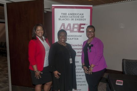 AABE members pose before the start of the Birmingham chapter's scholarship luncheon. (Billy Brown)