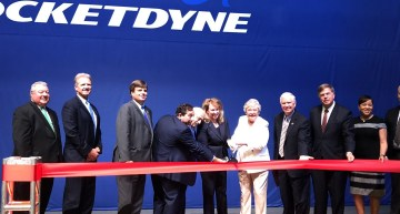 Aerojet Rocketdyne CEO Eileen Drake and Alabama Gov. Kay Ivey cut the ribbon on the company's advanced manufacturing facility in Huntsville. (Aerojet Rocketdyne)