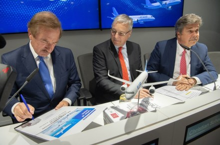 Air Lease Corporation's cumulative orders for Airbus jetliners rose to 387 with a 100-aircraft letter of intent signed at the 2019 Paris Air Show; seated from left to right are: Steven F. Udvar-Házy, Air Lease Corporation executive chairman of the board; Airbus Chief Commercial Officer Christian Scherer; and John Plueger, Air Lease Corporation CEO and president. (Airbus)
