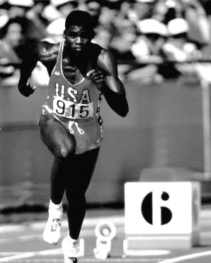 Photograph of Carl Lewis, likely taken during the 1984 Los Angeles Olympics. (University of Houston Libraries, Special Collection; Wikipedia)