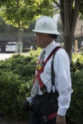 Spann outfitted with an Alabama Power hard hat. (Keisa Sharpe