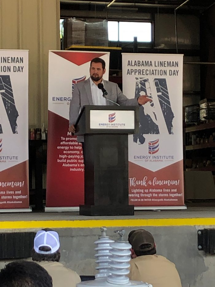 Assistant Director of the Alabama Emergency Management Agency Jonathan Gaddy addressed the audience of linemen in Opelika. (Thatcher Chapman)