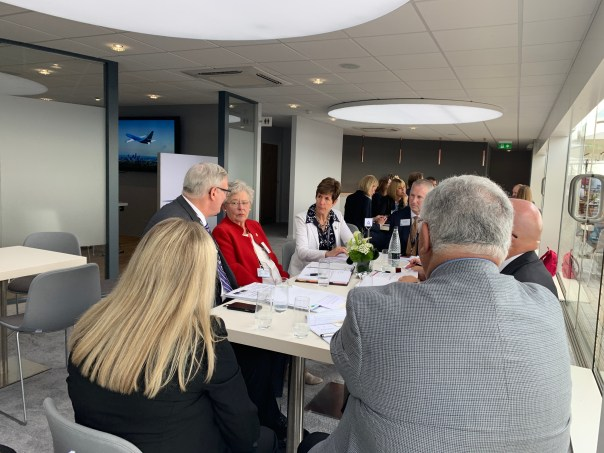 Gov. Kay Ivey and the Alabama team, joined by Auburn's economic development specialists, speak with executives of GE Aviation at the 2019 Paris Air Show. (contributed)