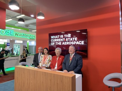 Alabama's working team at the 2019 Paris Air Show includes, from left, the Alabama Department of Commerce's Bob Smith and Stefania Jones, Gov. Kay Ivey and Commerce Secretary Greg Canfield. (contributed)
