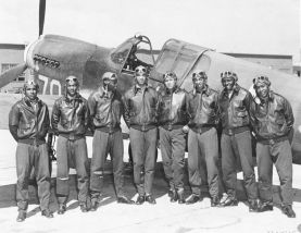 Photograph of the Tuskegee Airmen, likely taken in Southern Italy or Northern Africa, c. 1942-1943. (U.S. Air Force, Wikipedia)