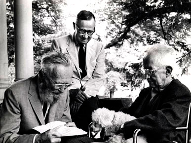 """Carl Carmer (center), author of """"Stars Fell On Alabama,"""" visits with renowned photographers Edward Steichen (left) and Charles Sheeler (right) at his home in New York in 1963. (From Encyclopedia of Alabama, courtesy of the Smithsonian Institution)"""