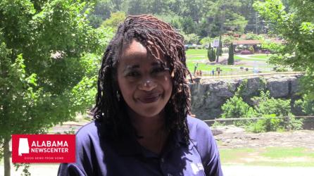 "Keisa Sharpe-Jefferson hosts the ""Good News from Home"" road show at Noccalula Falls in Gadsden. (Dennis Washington/Alabama NewsCenter)"