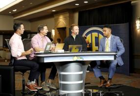 Crimson Tide quarterback Tua Tagovailoa does an interview with the SEC Network at SEC Media Days 2019. (Kent Gidley / UA Athletics)