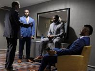 Auburn coach Gus Malzahn talks to his players Marlin Davidson, Derrick Brown and Prince Tega Wanogho during a break Thursday at SEC Media Days. (Todd Van Emst/AU Athletics)