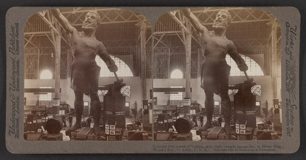 Colossal iron statue of Vulcan, in the Mines Building, St. Louis World's Fair, c. 1904. (Underwood & Underwood, Library of Congress Prints and Photographs Division)