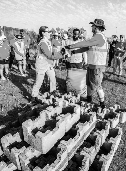 Volunteers will use 35-pound blocks to create seven reefs in the marsh at the edge of Mobile Bay. (Alabama Power Foundation)