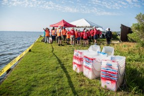 """Plastic """"barges"""" will be used to transport 35-pound concrete blocks into the water to create oyster castle reefs. (Alabama Power Foundation)"""