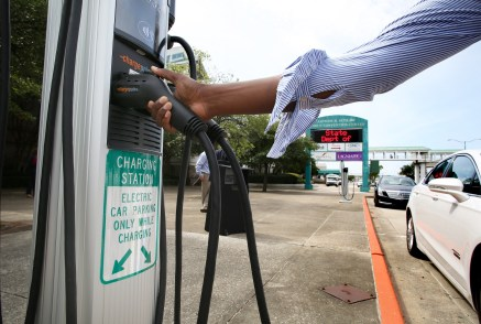 An unveiling ceremony for newly installed electric vehicle charging stations is held Monday, July 15 in downtown Mobile. The project is a partnership between Alabama Power and the City of Mobile. (Mike Kittrell)