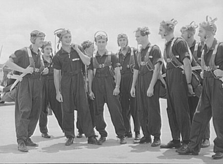 Cadets ready to get into their planes at Craig Field, Southeastern Air Training Center, Selma, 1941. (Library of Congress, Prints and Photographs Division)