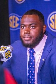 Georgia offensive lineman Andrew Thomas speaks at SEC Media Days 2019. (Dennis Washington / Alabama NewsCenter)