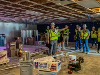 Russell Branham gives media a tour of the construction work at the Talladega Superspeedway on July 10, 2019. (Dennis Washington / Alabama NewsCenter)