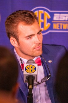 Georgia quarterback Jake Fromm speaks at SEC Media Days 2019. (Dennis Washington / Alabama NewsCenter)