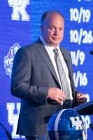 Kentucky coach Mark Stoops speaks at SEC Media Days 2019. (Dennis Washington / Alabama NewsCenter)