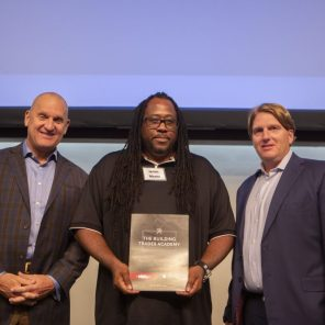 Jeff Peoples (left) is joined by program graduate James Means (center) and Brent Booker (right) of NABTU. (Meg McKinney)