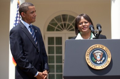 President Barack Obama with Regina Benjamin, Alabama physician nominated for the position of surgeon general of the United States, July 13, 2009. (Lawrence Jackson, Wikipedia)