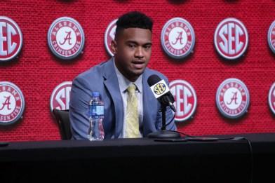 Alabama quarterback Tua Tagovailoa speaks at SEC Media Days 2019. (Bruce Nix / Alabama NewsCenter)
