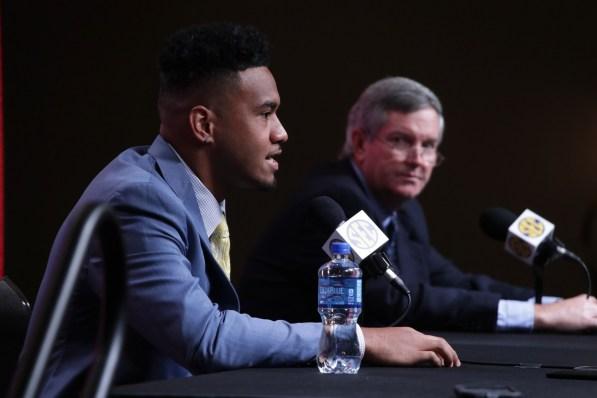 Alabama quarterback Tua Tagovailoa speaks to the media at SEC Media Days 2019. (Bruce Nix / Alabama NewsCenter)
