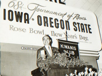Mel Allen at the Rose Bowl in Pasadena, California, on Jan. 1, 1958. Allen announced the play-by-play for the game alongside color commentator Chick Hearn. The Ohio State Buckeyes defeated the Oregon Ducks, 10-7. (From Encyclopedia of Alabama, courtesy of W.S. Hoole Special Collections Library, The University of Alabama Libraries)