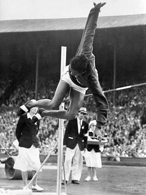 Tuskegee Institute alumnus Alice Coachman breaks the women's high jump record in the 1948 Summer Olympics in London with a leap of 5 feet, 6 1/8 inches. (From Encyclopedia of Alabama, courtesy of Library of Congress)