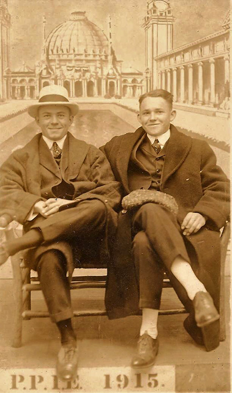 Walter William Bankhead and an unnamed friend pose for a souvenir photo at the Panama-Pacific International Exposition in San Francisco, California, in 1915. The exposition, which ran from February to December 1915, was created to celebrate the completion of the Panama Canal. (From Encyclopedia of Alabama, photo courtesy of the Bankhead Family Collection at the Bankhead House & Heritage Center, Walker Area Community Foundation)