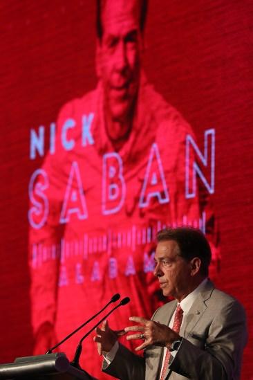 Nick Saban talks about the season ahead on Media Day. (Kent Gidley/University of Alabama Athletics)
